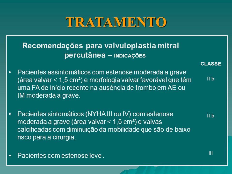 Recomendações para valvuloplastia mitral percutânea INDICAÇÕES Pacientes sintomáticos (NYHA II, III ou IV) com estenose moderada a grave (área valvar < 1,5 cm²) e morfologia valvar favorável na ausência de trombo em AE ou IM grave.