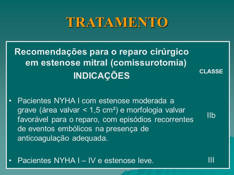 ESTENOSE MITRAL TRATAMENTO CIRÚRGICO - - Escore de Block >11 - Valva calcificada ou dupla lesão mitral - - Indicação Inquestionável ( classe I de evidência ) Pacientes sintomáticos (classe II – IV NYHA) com EM moderada a grave ( AVM < 1,5 cm 2.