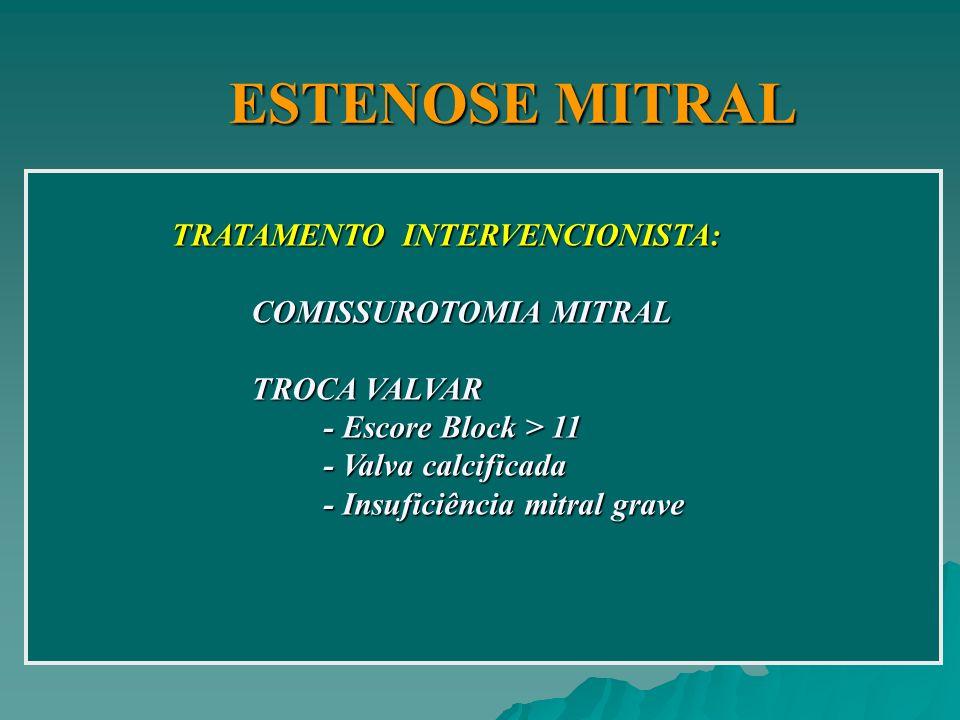 ESTENOSE MITRAL TRATAMENTO INTERVENCIONISTA: COMISSUROTOMIA MITRAL COMISSUROTOMIA MITRAL TROCA VALVAR TROCA VALVAR - Escore Block > 11 - Escore Block