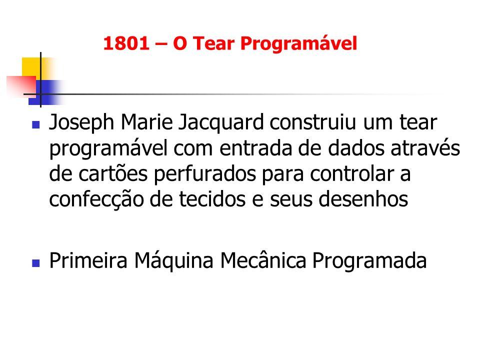 Joseph Marie Jacquard construiu um tear programável com entrada de dados através de cartões perfurados para controlar a confecção de tecidos e seus de