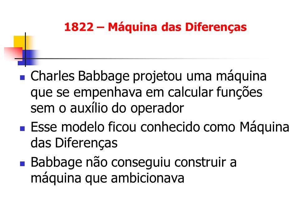 Charles Babbage projetou uma máquina que se empenhava em calcular funções sem o auxílio do operador Esse modelo ficou conhecido como Máquina das Difer