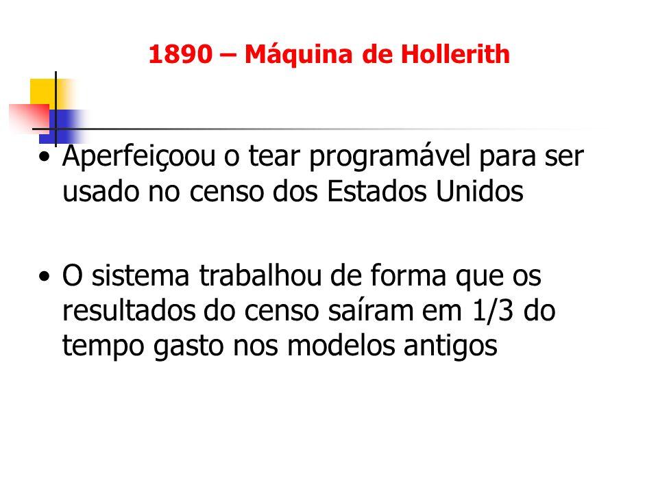 1890 – Máquina de Hollerith Aperfeiçoou o tear programável para ser usado no censo dos Estados Unidos O sistema trabalhou de forma que os resultados d