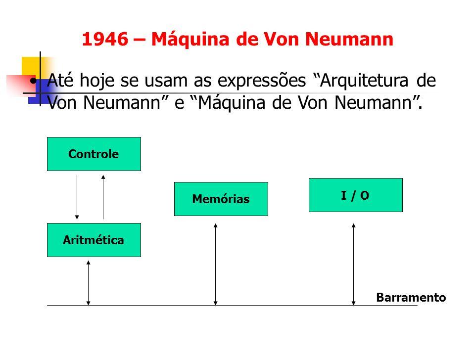 1946 – Máquina de Von Neumann Até hoje se usam as expressões Arquitetura de Von Neumann e Máquina de Von Neumann. Memórias Controle Aritmética I / O B