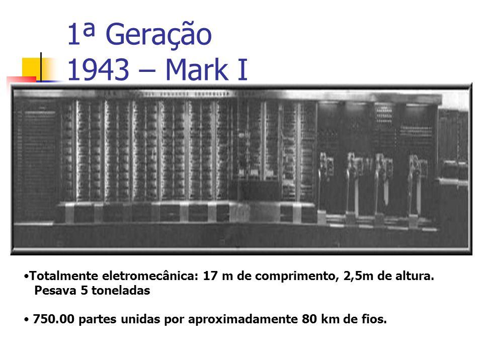 1ª Geração 1943 – Mark I Totalmente eletromecânica: 17 m de comprimento, 2,5m de altura. Pesava 5 toneladas 750.00 partes unidas por aproximadamente 8