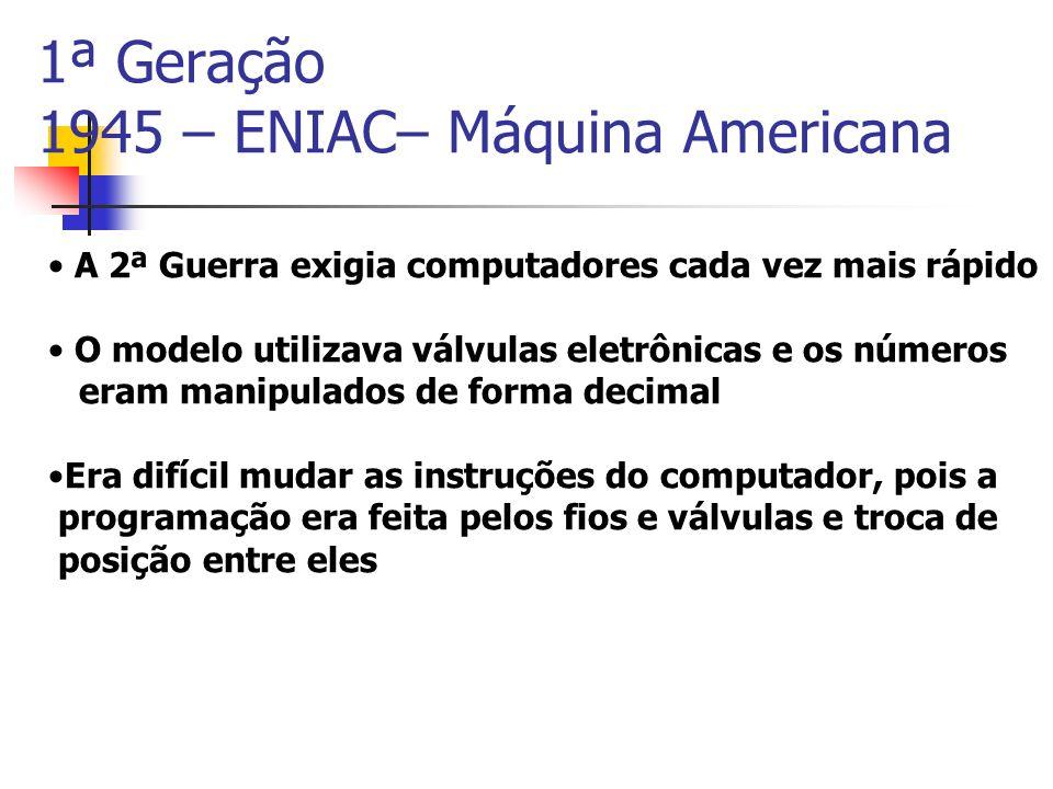 1ª Geração 1945 – ENIAC– Máquina Americana A 2ª Guerra exigia computadores cada vez mais rápido O modelo utilizava válvulas eletrônicas e os números e