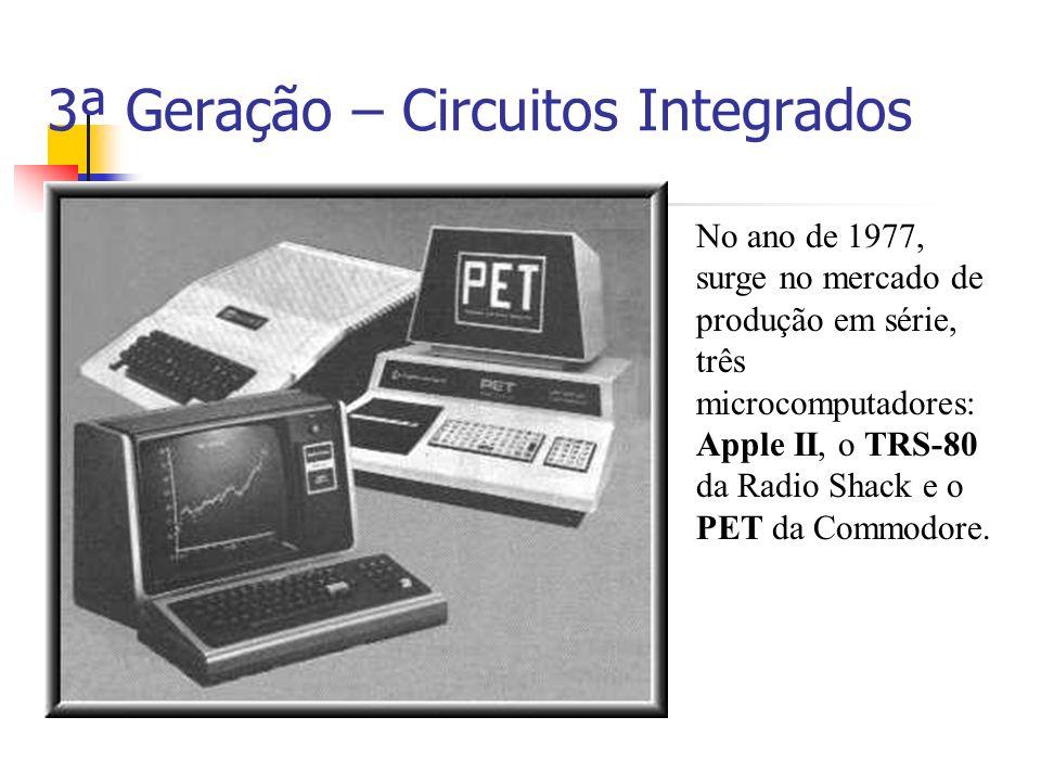 3ª Geração – Circuitos Integrados No ano de 1977, surge no mercado de produção em série, três microcomputadores: Apple II, o TRS-80 da Radio Shack e o