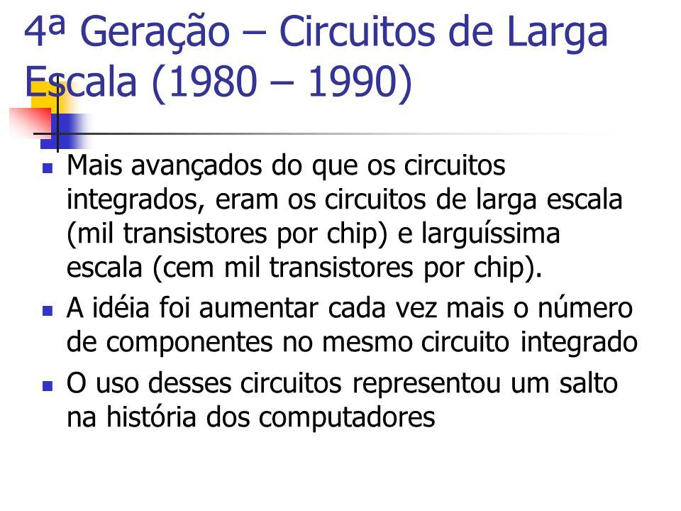 Mais avançados do que os circuitos integrados, eram os circuitos de larga escala (mil transistores por chip) e larguíssima escala (cem mil transistore