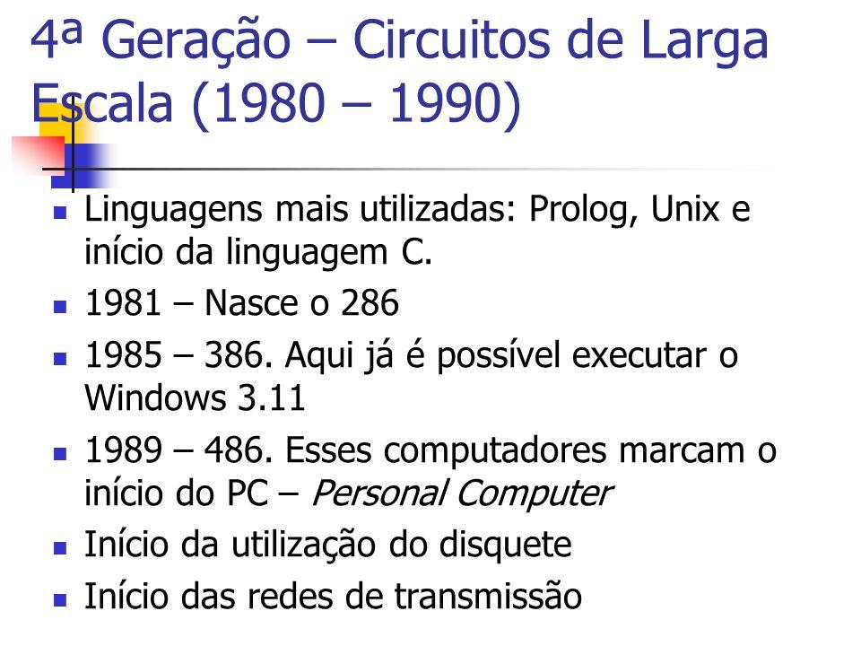 Linguagens mais utilizadas: Prolog, Unix e início da linguagem C. 1981 – Nasce o 286 1985 – 386. Aqui já é possível executar o Windows 3.11 1989 – 486