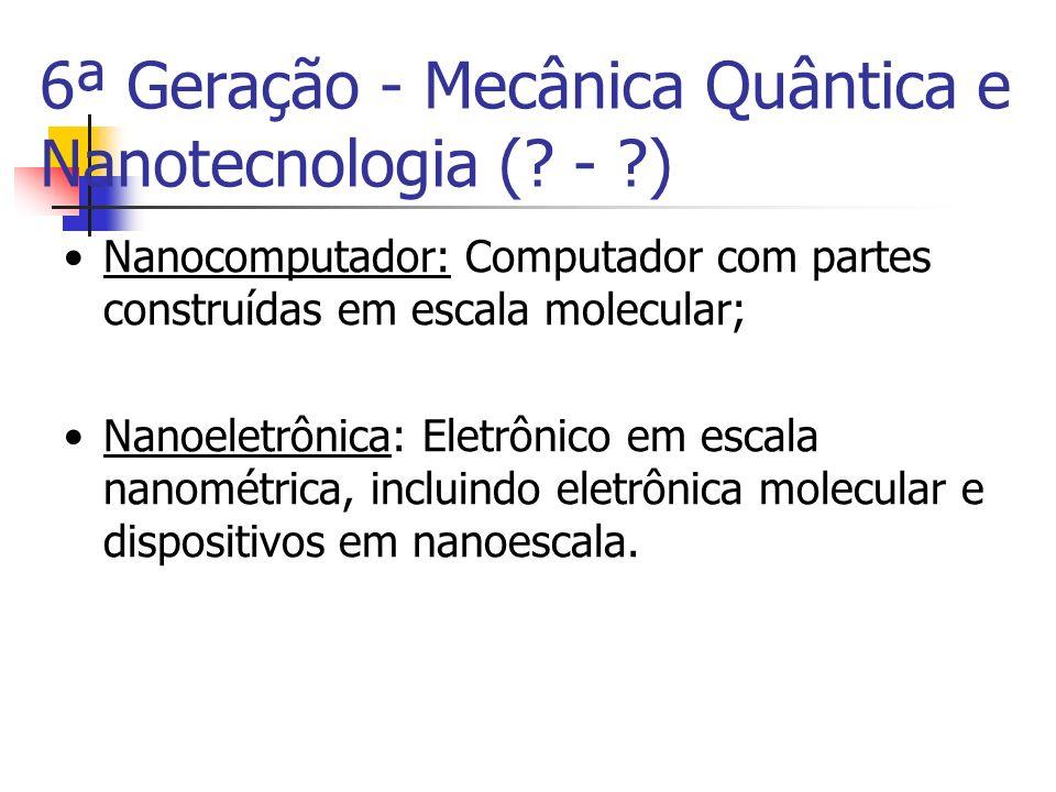 Nanocomputador: Computador com partes construídas em escala molecular; Nanoeletrônica: Eletrônico em escala nanométrica, incluindo eletrônica molecula
