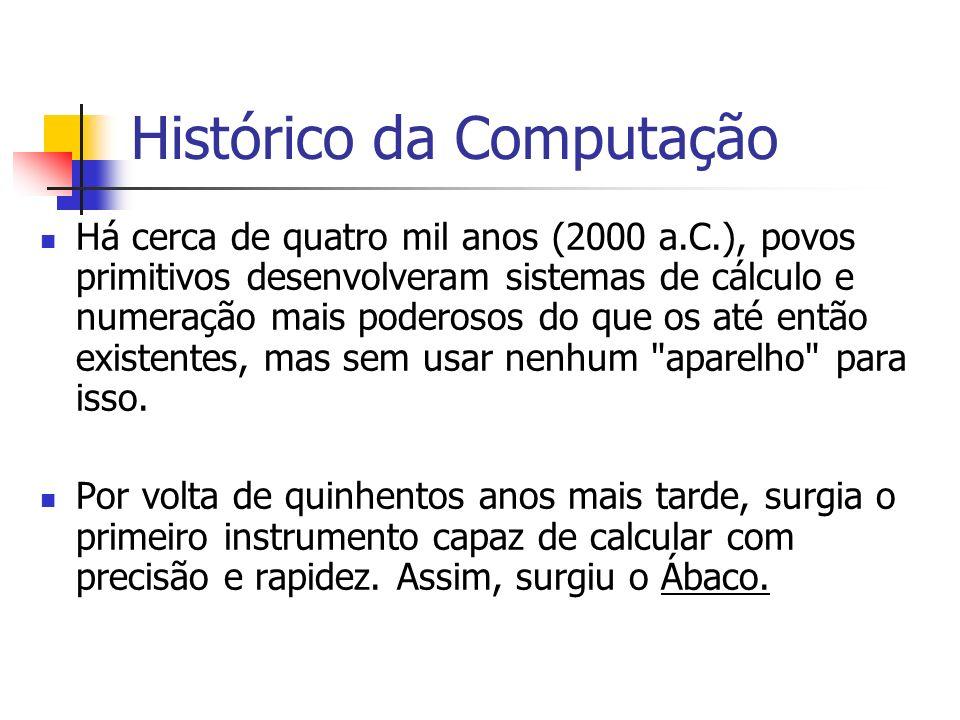 Histórico da Computação Há cerca de quatro mil anos (2000 a.C.), povos primitivos desenvolveram sistemas de cálculo e numeração mais poderosos do que