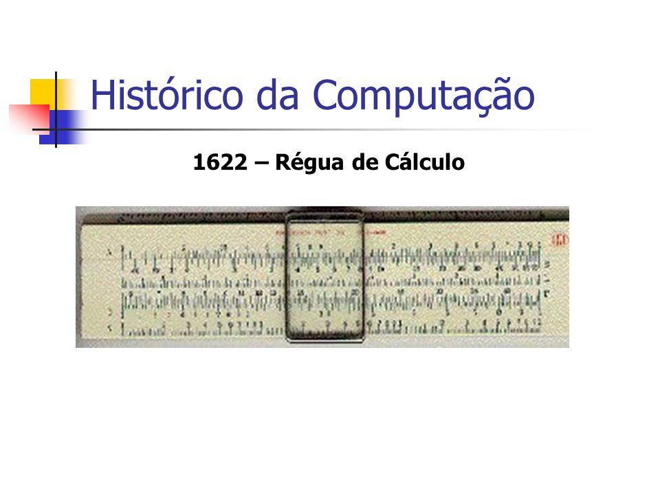 1847 – Teoria de Boole Inventor da Lógica Matemática Boole propôs que qualquer coisa (número, letras, objetos) poderia ser representado por símbolos e regras Também introduziu o conceito de códigos binários, duas entidades: 0 e 1, V e F, Ligado e Desligado, True ou False