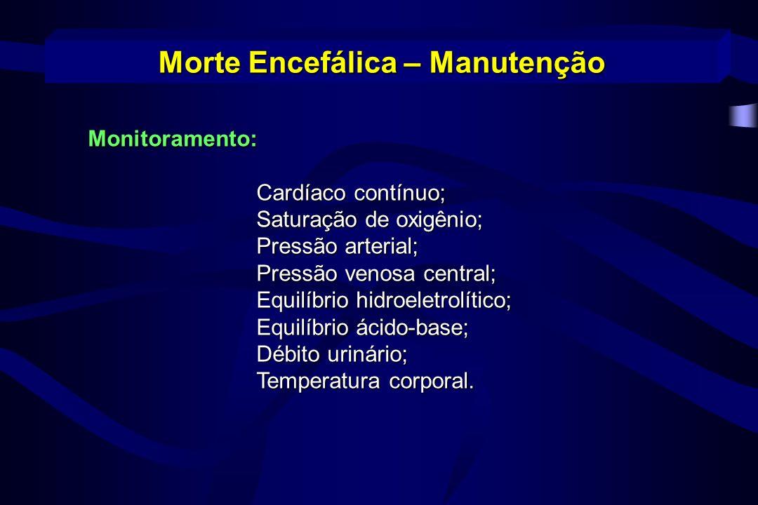 Monitoramento: Cardíaco contínuo; Saturação de oxigênio; Pressão arterial; Pressão venosa central; Equilíbrio hidroeletrolítico; Equilíbrio ácido-base