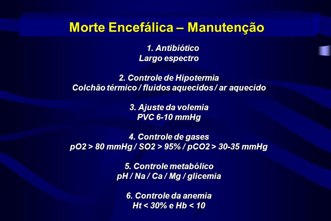 1. Antibiótico 1. Antibiótico Largo espectro 2. Controle de Hipotermia Colchão térmico / fluidos aquecidos / ar aquecido 3. Ajuste da volemia PVC 6-10