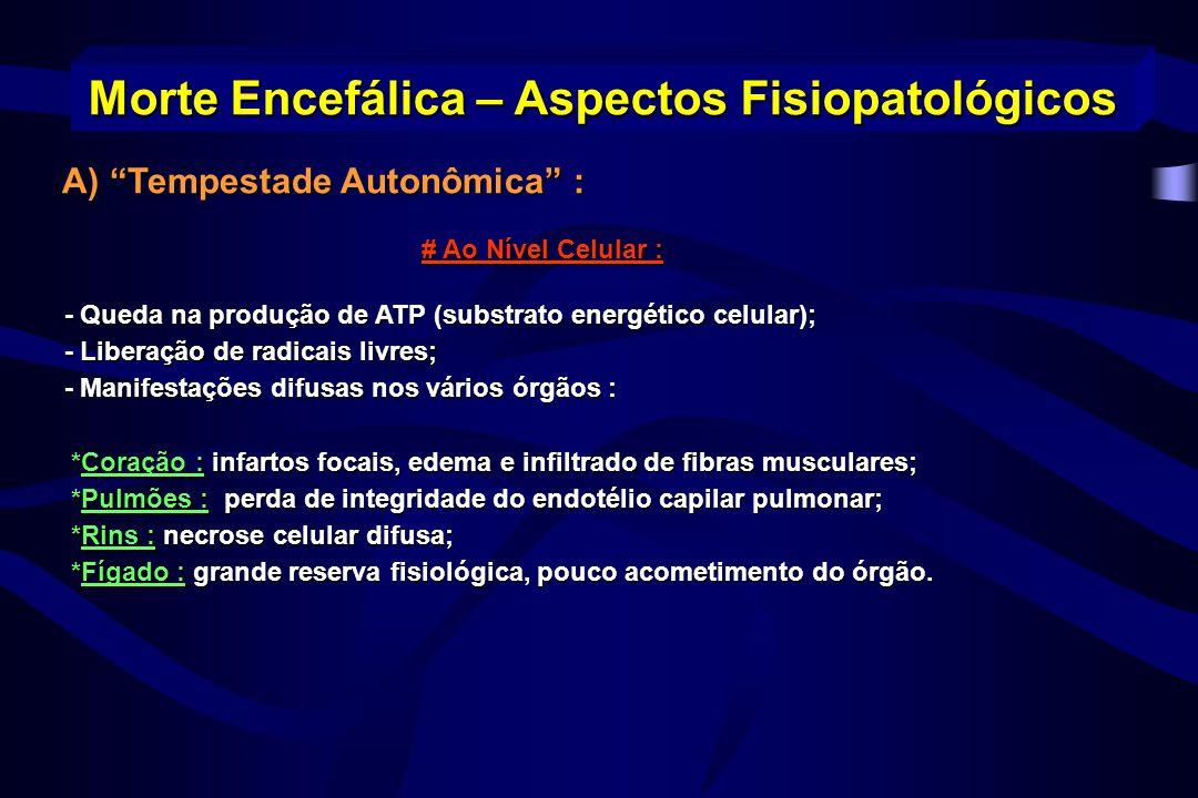 B) O Eixo Hipotalâmico – Hipofisário : B) O Eixo Hipotalâmico – Hipofisário : -Perda da capacidade de secreção de ADH – diabetes insipidus; -poliúria, Na, Ca, K e Mg; - na secreção de renina e aldosterona – hipotensão, Na, K; -Perda do controle termoregulador do Hipotálamo levando à hipotermia; -Perda do tônus vasomotor – agrava hipotensão; -Disfunção na porção anterior da Hipófise a secreção de outros hormônios : cortisol, insulina, hormônios tireoidianos ( TSH, T3 e T4 ).