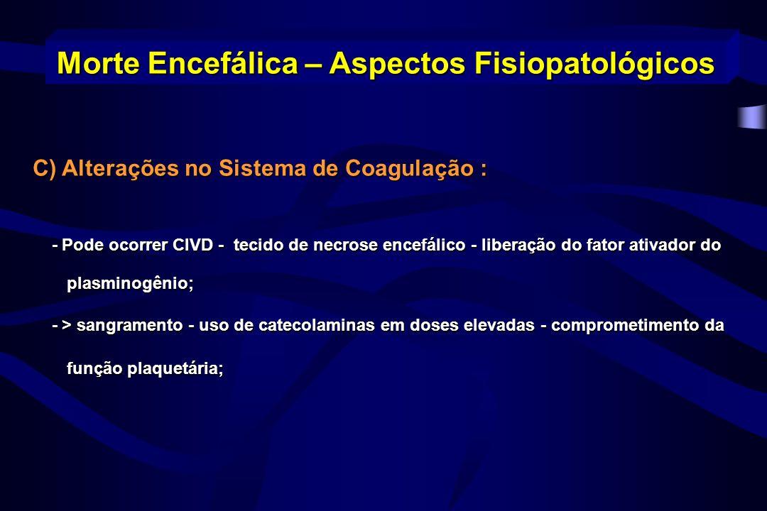 C) Alterações no Sistema de Coagulação : - Pode ocorrer CIVD - tecido de necrose encefálico - liberação do fator ativador do plasminogênio; - Pode oco
