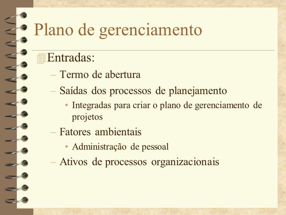 Plano de gerenciamento 4 Entradas: –Termo de abertura –Saídas dos processos de planejamento Integradas para criar o plano de gerenciamento de projetos
