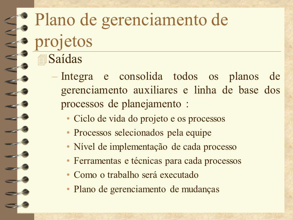 Plano de gerenciamento de projetos 4 Saídas –Integra e consolida todos os planos de gerenciamento auxiliares e linha de base dos processos de planejam