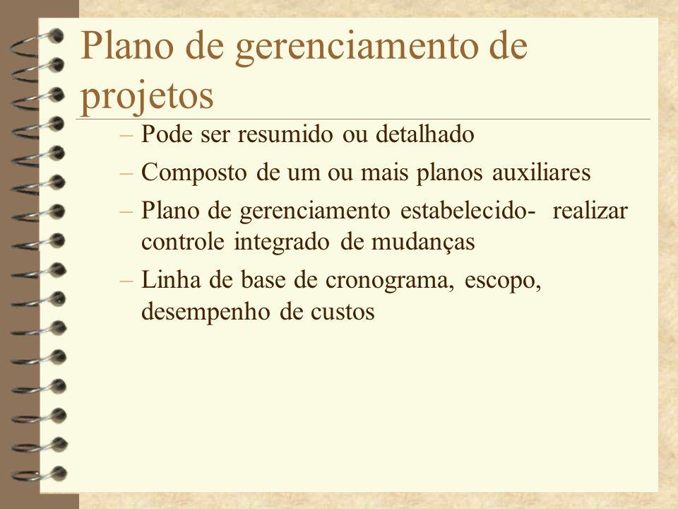 Plano de gerenciamento de projetos –Pode ser resumido ou detalhado –Composto de um ou mais planos auxiliares –Plano de gerenciamento estabelecido- rea