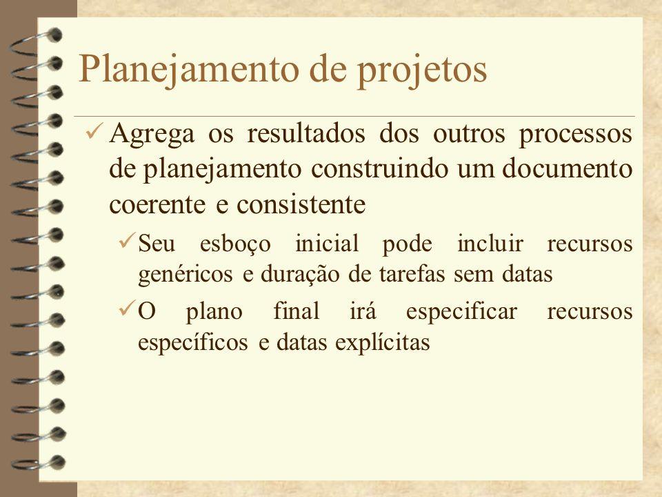 Planejamento de projetos Agrega os resultados dos outros processos de planejamento construindo um documento coerente e consistente Seu esboço inicial