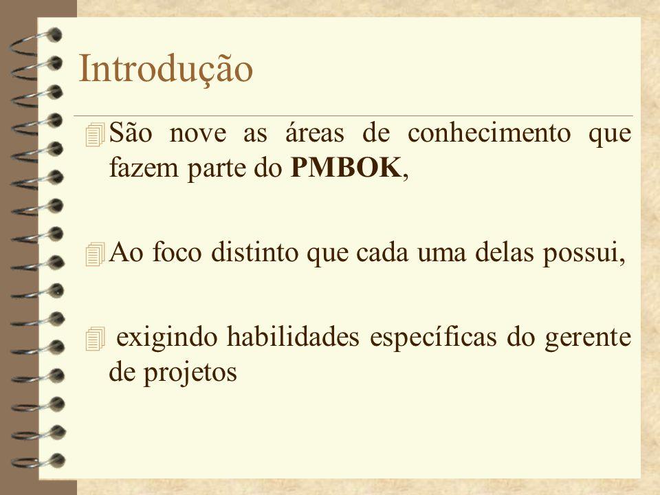 Introdução 4 São nove as áreas de conhecimento que fazem parte do PMBOK, 4 Ao foco distinto que cada uma delas possui, 4 exigindo habilidades específi