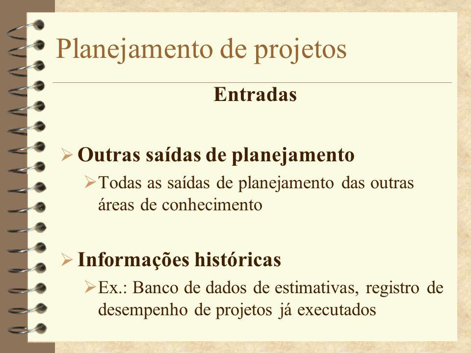 Planejamento de projetos Entradas Outras saídas de planejamento Todas as saídas de planejamento das outras áreas de conhecimento Informações histórica