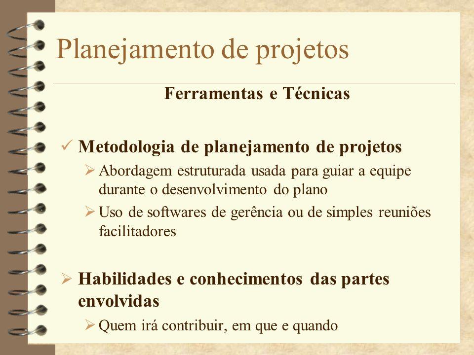 Planejamento de projetos Ferramentas e Técnicas Metodologia de planejamento de projetos Abordagem estruturada usada para guiar a equipe durante o dese