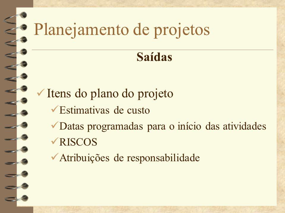 Planejamento de projetos Saídas Itens do plano do projeto Estimativas de custo Datas programadas para o início das atividades RISCOS Atribuições de re