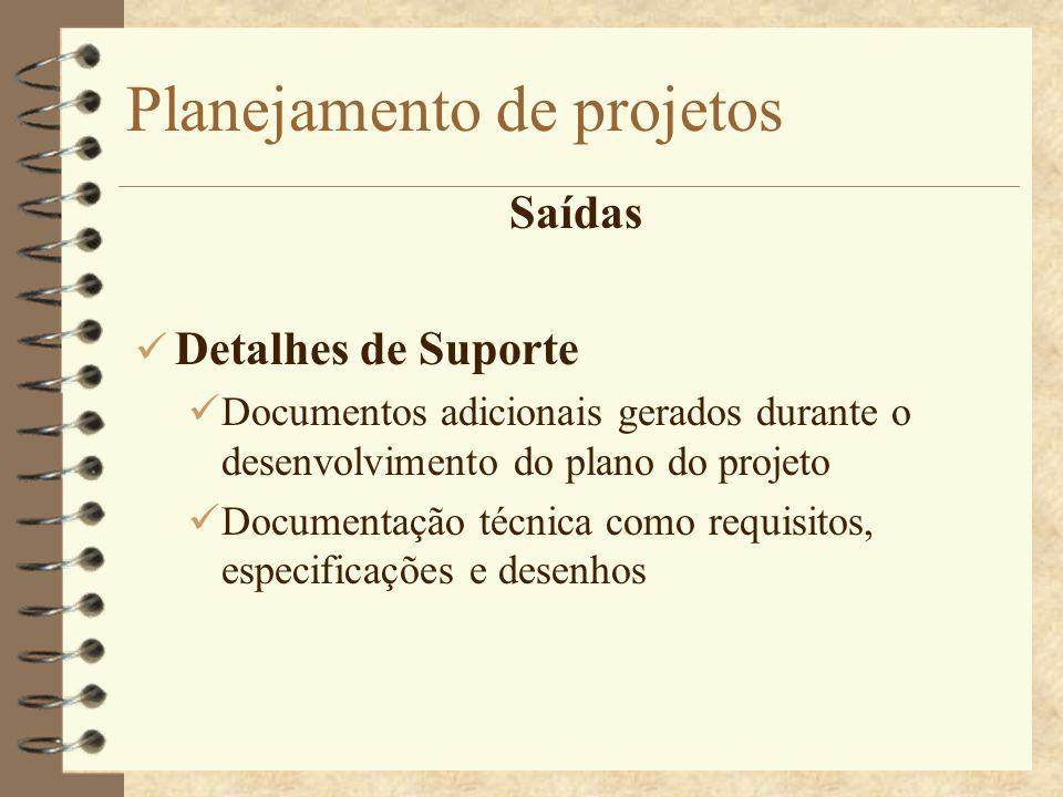 Planejamento de projetos Saídas Detalhes de Suporte Documentos adicionais gerados durante o desenvolvimento do plano do projeto Documentação técnica c