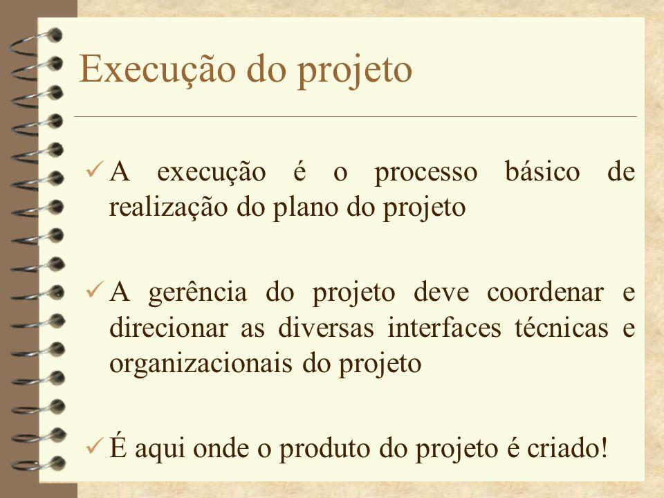 Execução do projeto A execução é o processo básico de realização do plano do projeto A gerência do projeto deve coordenar e direcionar as diversas int