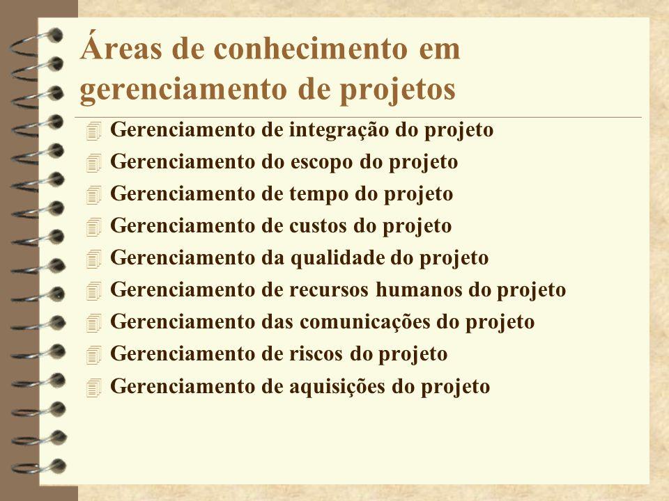Áreas de conhecimento em gerenciamento de projetos 4 Gerenciamento de integração do projeto 4 Gerenciamento do escopo do projeto 4 Gerenciamento de te