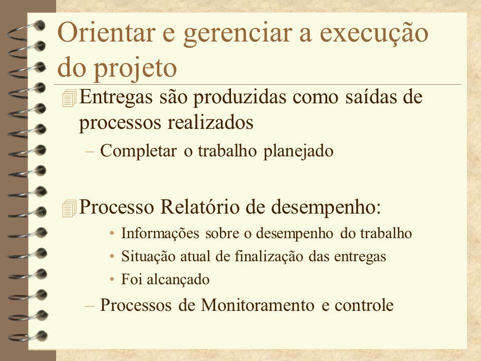Orientar e gerenciar a execução do projeto 4 Entregas são produzidas como saídas de processos realizados –Completar o trabalho planejado 4 Processo Re