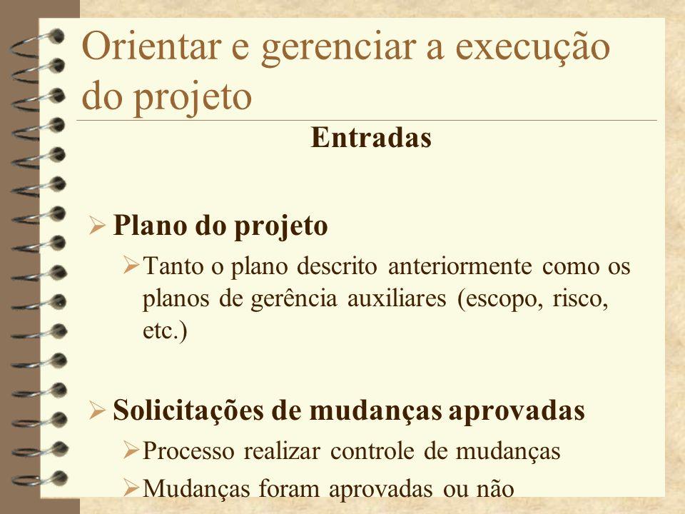 Orientar e gerenciar a execução do projeto Entradas Plano do projeto Tanto o plano descrito anteriormente como os planos de gerência auxiliares (escop