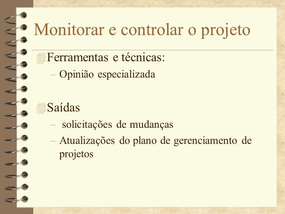 Monitorar e controlar o projeto 4 Ferramentas e técnicas: –Opinião especializada 4 Saídas – solicitações de mudanças –Atualizações do plano de gerenci