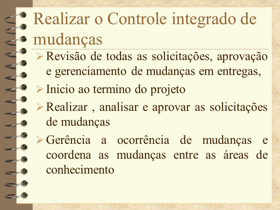 Realizar o Controle integrado de mudanças Revisão de todas as solicitações, aprovação e gerenciamento de mudanças em entregas, Inicio ao termino do pr