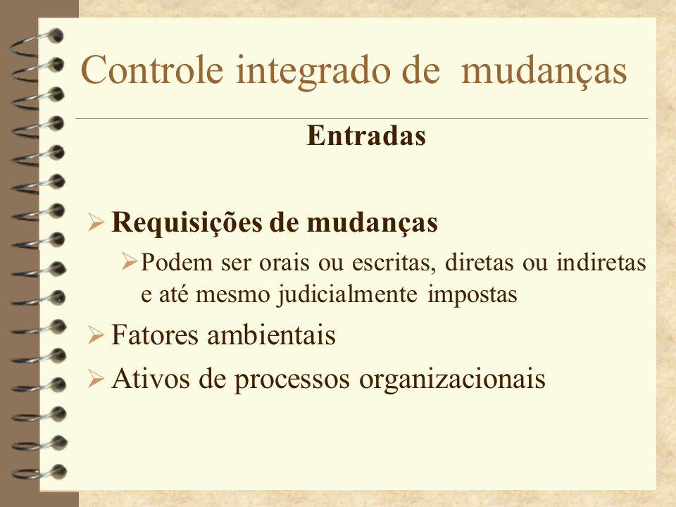 Controle integrado de mudanças Entradas Requisições de mudanças Podem ser orais ou escritas, diretas ou indiretas e até mesmo judicialmente impostas F
