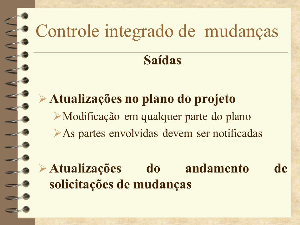 Controle integrado de mudanças Saídas Atualizações no plano do projeto Modificação em qualquer parte do plano As partes envolvidas devem ser notificad
