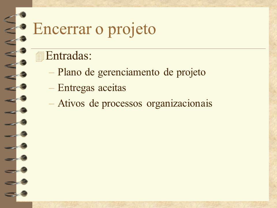 Encerrar o projeto 4 Entradas: –Plano de gerenciamento de projeto –Entregas aceitas –Ativos de processos organizacionais