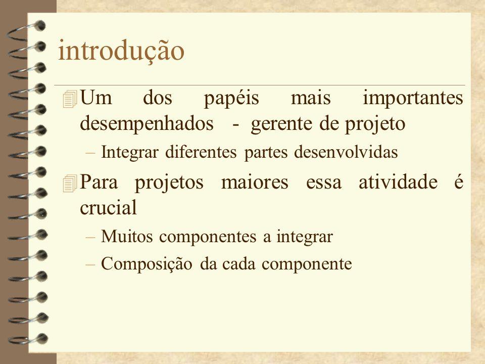 introdução 4 Um dos papéis mais importantes desempenhados - gerente de projeto –Integrar diferentes partes desenvolvidas 4 Para projetos maiores essa
