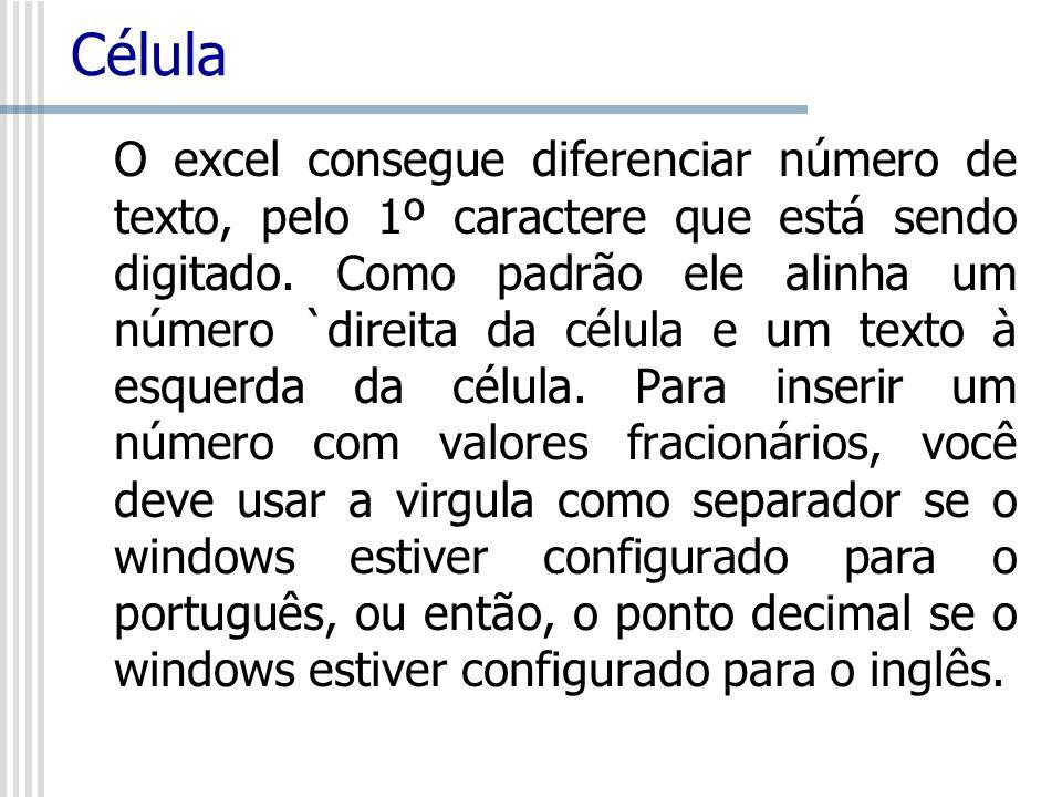 Célula O excel consegue diferenciar número de texto, pelo 1º caractere que está sendo digitado. Como padrão ele alinha um número `direita da célula e