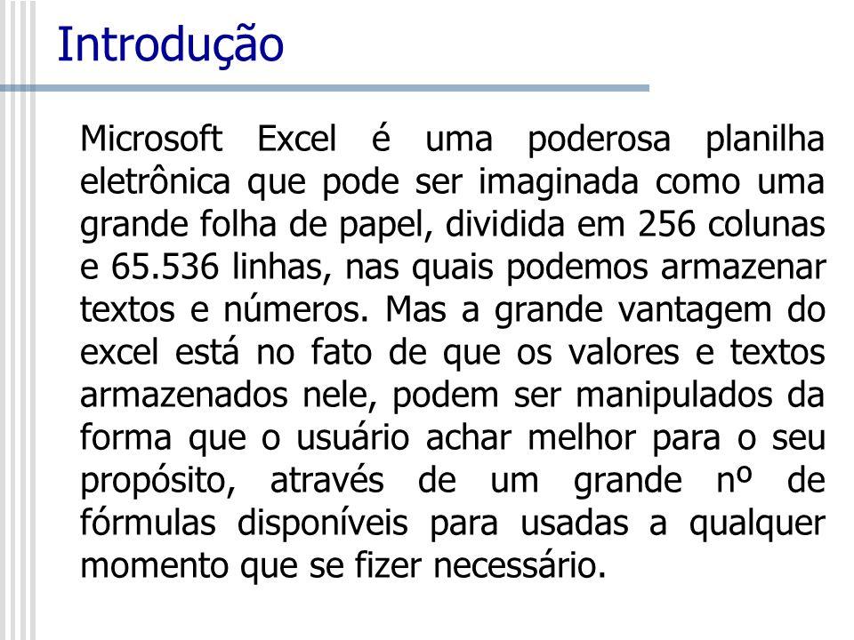 Introdução Microsoft Excel é uma poderosa planilha eletrônica que pode ser imaginada como uma grande folha de papel, dividida em 256 colunas e 65.536