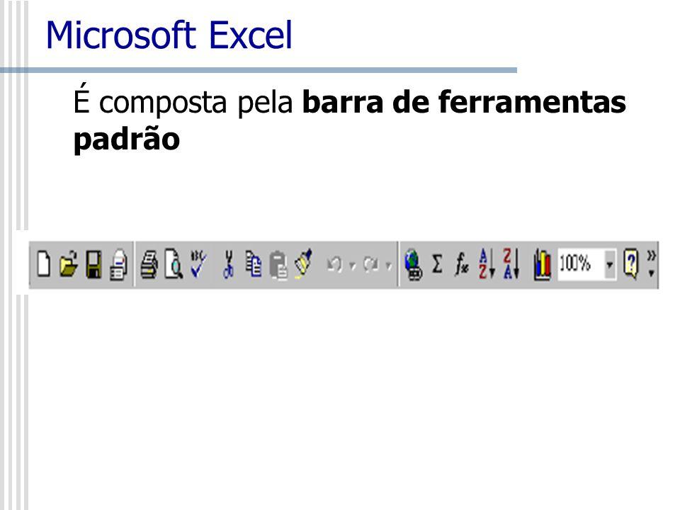 Microsoft Excel É composta pela barra de ferramentas padrão