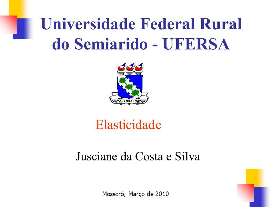 Elasticidade Jusciane da Costa e Silva Mossoró, Março de 2010 Universidade Federal Rural do Semiarido - UFERSA