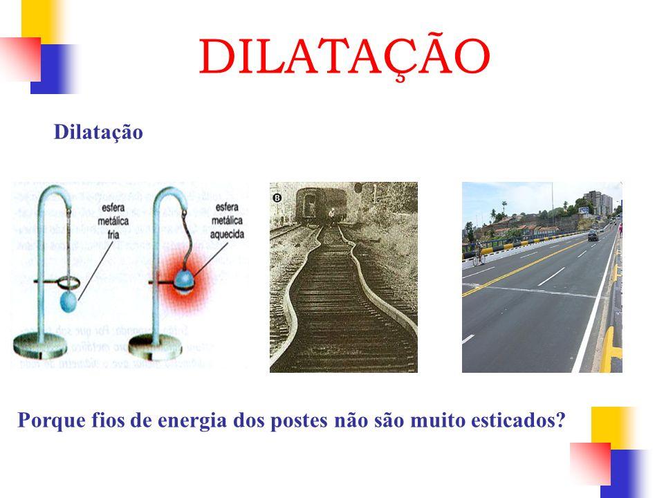 Dilatação DILATAÇÃO Porque fios de energia dos postes não são muito esticados?