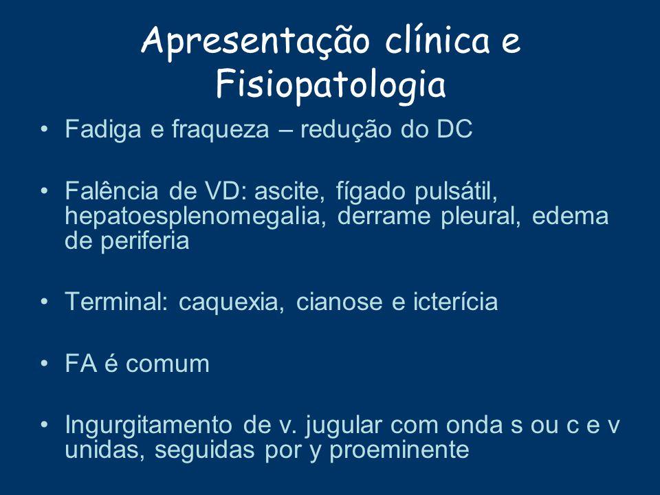 Apresentação clínica e Fisiopatologia Fadiga e fraqueza – redução do DC Falência de VD: ascite, fígado pulsátil, hepatoesplenomegalia, derrame pleural
