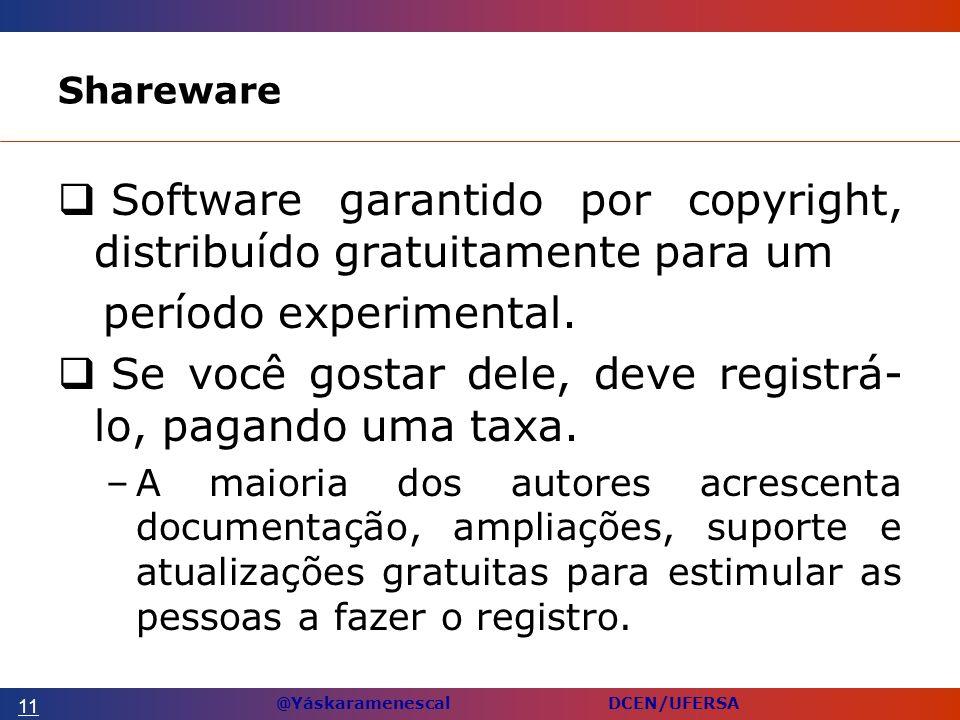 @Yáskaramenescal DCEN/UFERSA Shareware Software garantido por copyright, distribuído gratuitamente para um período experimental.