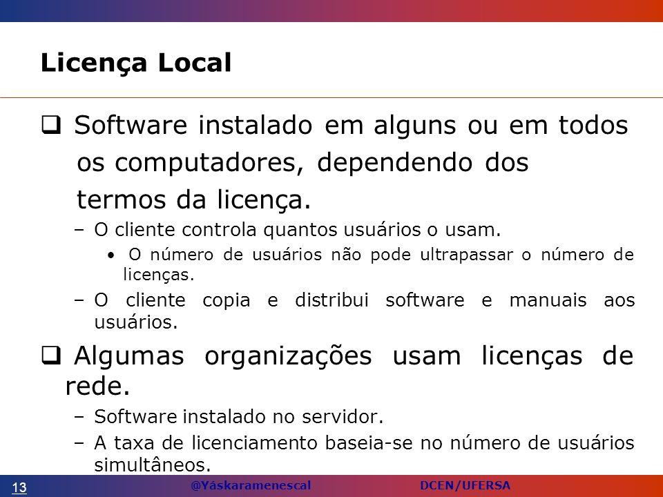 @Yáskaramenescal DCEN/UFERSA Licença Local Software instalado em alguns ou em todos os computadores, dependendo dos termos da licença.