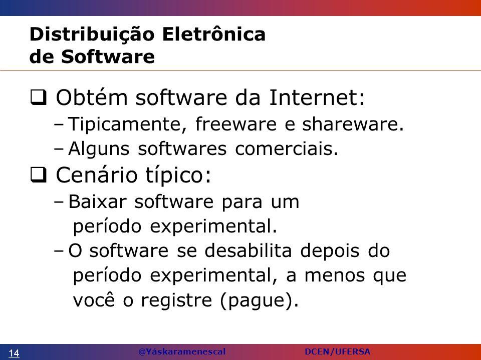 @Yáskaramenescal DCEN/UFERSA Distribuição Eletrônica de Software Obtém software da Internet: –Tipicamente, freeware e shareware.