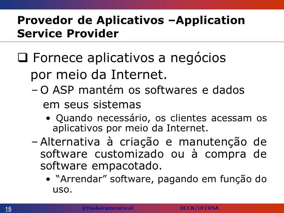 @Yáskaramenescal DCEN/UFERSA Provedor de Aplicativos –Application Service Provider Fornece aplicativos a negócios por meio da Internet.