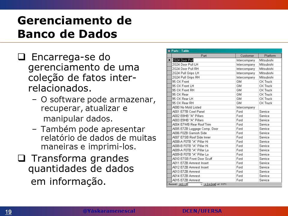 @Yáskaramenescal DCEN/UFERSA Gerenciamento de Banco de Dados Encarrega-se do gerenciamento de uma coleção de fatos inter- relacionados.