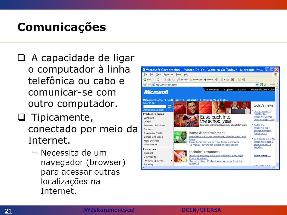 @Yáskaramenescal DCEN/UFERSA Comunicações A capacidade de ligar o computador à linha telefônica ou cabo e comunicar-se com outro computador.
